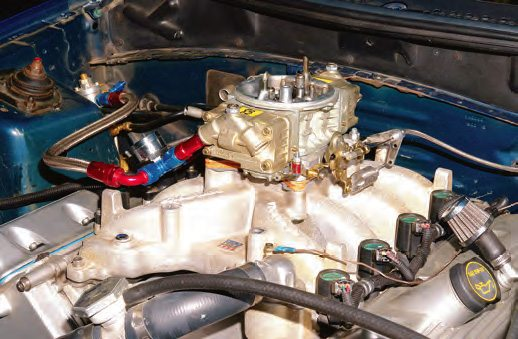 Here is the carbureted 4.6 Mustang induction ready to run. This setup was used to test output with gas and E85.