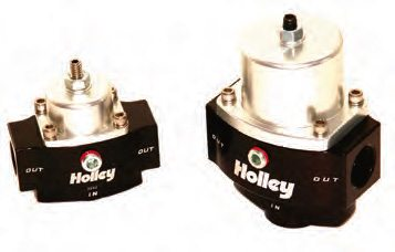 Holley sells these billet pressure regulators: model 12-840 (left) and the bigger, higher-capacity 12-843 unit (right). Both have a refined, precision, non-bypass design intended to maximize fuel pressure stability when a non-return system is used. Holley also has equivalent billet-style units in bypass configurations.
