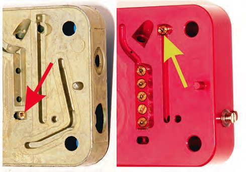 Idle feed restriction (idle jets) can be located in different positions for different metering blocks. On the left (red arrow) is the fixed type most commonly seen in regular metering blocks. On the right (yellow arrow) is the replaceable style for the Ultra range of Holley carbs.