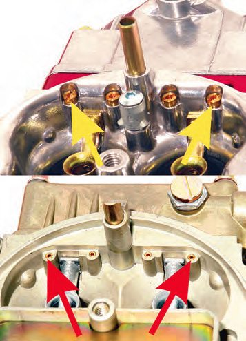 Replaceable idle air bleeds (yellow arrows) are used in the top-of-the-line street and race Holley carbs, making a change easy. If you have a regular carb, the air bleeds are press-in (red arrows) items, so changing them is limited to drilling larger or pulling them out and installing smaller ones.