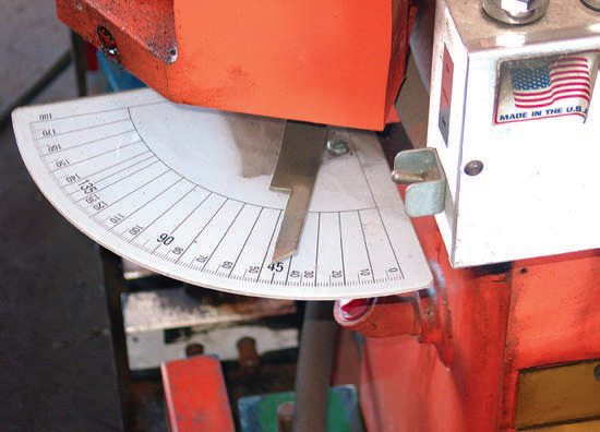 On a manual-bending machine, an index pointer is manually positioned along a degree scale for the desired bend. Once the pointer reaches the desired angle, the operator manually stops the bending process.
