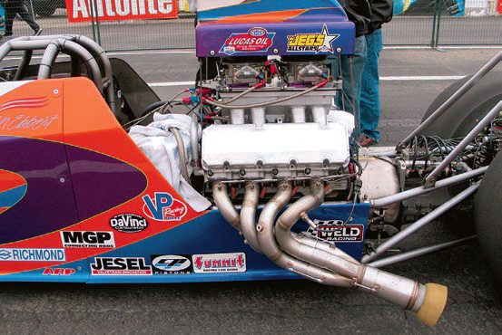 This AA drag car poses no fitment issues, so equal-length primary tubes can be used to maximize engine output. (Photo Courtesy Burns Stainless)