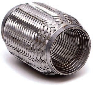 """A stainless steel braided flex coupler with internal sleeve allows a pipe-to-pipe connection that reduces or eliminates stress between the two pipe ends. A flex coupler is useful in high-movement or high-vibration areas where a degree of """"give"""" is required. (Photo Courtesy Vibrant Performance)"""