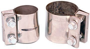 Wide stainless steel band clamps come in a variety of pipe diameters, for both butt-mating pipe of the same diameter and holding different pipe diameters together. This makes quick work of any pipe-to-pipe or pipe-to-muffler connection.