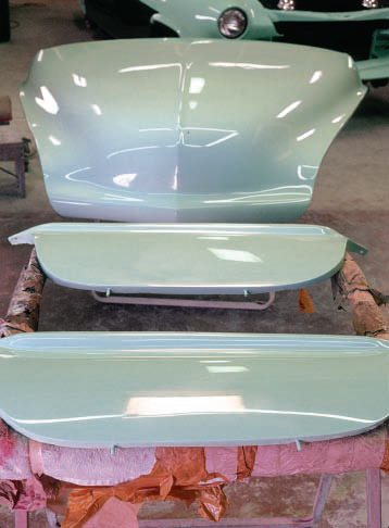After being painted separately, each of the other parts of the car were also rubbed and buffed, including jambs and edges, before reinstallation. If you're using a power buffer, be sure smaller parts, such as the fender skirts, are held securely so they don't go flying across the room (don't laugh, it's happened far too often).
