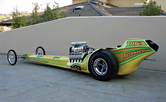 The restoration of Bushwacker was finished in 2007 . . . well, almost. The engine was a fiberglass dummy; everything else was real and connected. The dragster was built to plug Tognotti's Speed Shop in Sacramento, California. Don opened the shop in 1964 and today his son operates it in the same location. (Photo Courtesy James Handy)