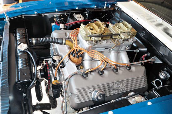 The twin 4-barrel race-bred 427 SOHC produced an estimated 675 hp and propelled the match-race car to ETs in the high-9-second range at more than 140 mph. Even though the original engine was long gone when purchased by Bob, Gasser legend Ohio George was able to provide him with what he needed. Holley 780-cfm carburetors feed the hungry beast. (Photo Courtesy Jerry Heasley)