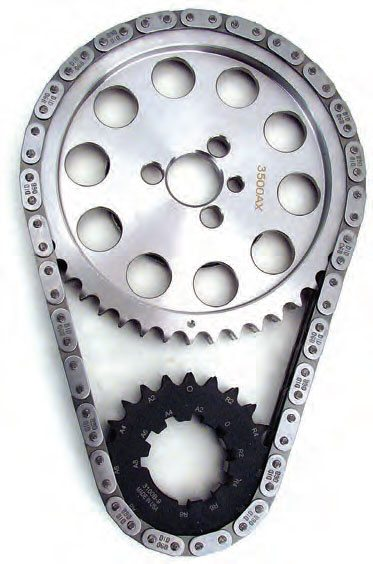This is a double roller chain setup featuring a billet-steel cam gear. Billet cam sprockets offer increased strength, but considering the higher-than-cast cost, it really isn't needed for stock or mild engine builds. However, it's a sensible choice for a chain drive in high-horsepower applications. Note that this set has advance/retard changes of 2, 4, and 6 degrees. (Photo Courtesy Comp Cams)