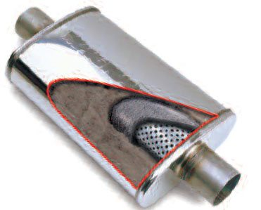 This Magnaflow muffler is a straightthrough type. It has extremely good flow characteristics but you need to preserve the collector-tuned lengths.