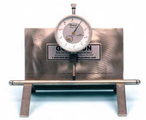 An easy and accurate way to inspect for pushrod runout is with a pushrod-checking stand with a dial indicator. Here we're using a checking stand from Goodson Tools.