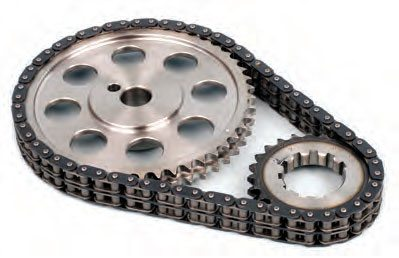 High-quality chain-drive systems feature true rollers (not fixed bushings) that contact the sprocket grooves for reduced friction and longer life. Seamless rollers and precision-machined teeth/grooves are what sets high-quality high-performance chain drives apart from anonymous-brand kits. (Photo Courtesy Comp Cams)