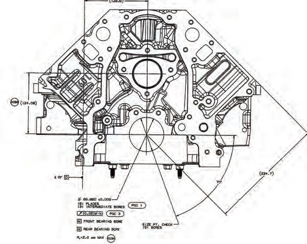 How to blueprint engine blocks muscle car diy this drawing of an ls block clearly shows how the main bore centerline is used as malvernweather Choice Image