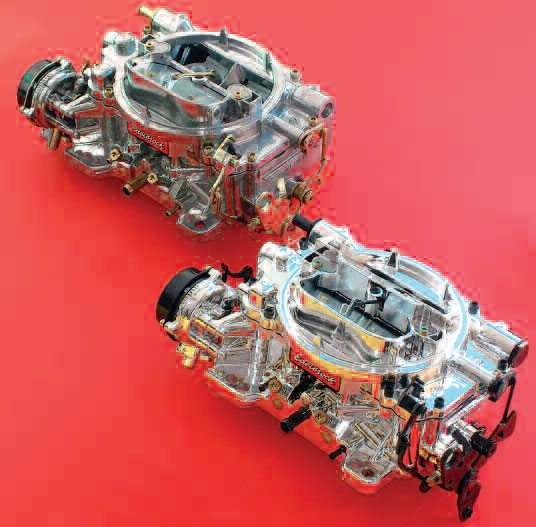 Looking for performance and mileage? The 550 Edelbrock carb (top) is dedicated to producing good mileage. On my test vehicles, the 800-cfm Edelbrock carb (bottom) delivered more torque as well as more mileage than the stock Q-Jet it replaced.