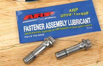Specially developed fastener assembly lubricant is designed to drastically reduce friction (at the threads and bolt head underside) during torquing or tightening via stretch. Do not use a different type of lubricant. Rod bolt tightening is a critical aspect of engine assembly, and it's no place to cut corners!