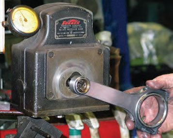 The same rod bore gauge is used to check the rod's pin bore. If using aftermarket performance full-floating rods, diameter is based on recommended oil clearance to the wrist pins.