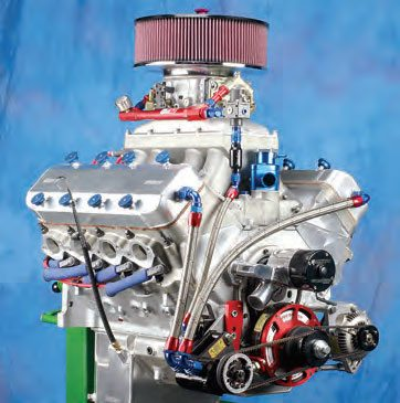 Increased flow was needed on this 632-ci Dart big-block. The Pro-Filer tunnel ram and 1,150-cfm Holley Pro Dominator carb helped this bad boy pull 1,115 hp on the dyno (all engine with no nitrous boost).