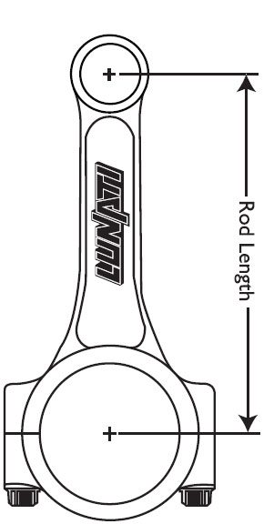 Connecting rod length always refers to the distance from the center of the wrist pin bore (small end) to the center of the crank journal bore (big end). (Illustration Courtesy Lunati)