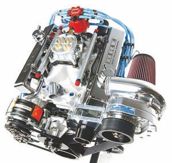 Fig. 3.18. This small-block 434-ci Chevy is fitted with an ATI Procharger centrifugal supercharger and Accufab 1,215-cfm throttle body. A Big Stuff 3 system performs engine management. This supercharged small-block makes more than 900 hp on 91-octane fuel. Beck Racing Engines built and tuned this engine.