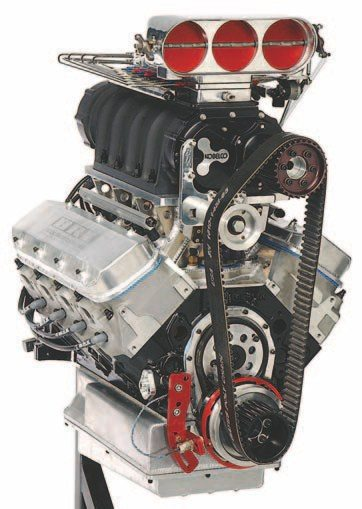 Fig. 3.21. If too much is just right, this 14-71 blown 582-ci big-block Chevy with nitrous should fit the bill. The induction package includes a 14-71 Kobelco Blower, Enderle Birdcatcher Hat, and Nitrous Oxide Systems Blower Injector Plate. A Big Stuff 3 controller performs engine management. Note the additional injectors in the intake runners under the blower, providing the ability to fine-tune the mixture for each cylinder. Beck Racing Engines built and tuned this engine.