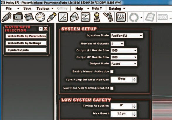 Fig. 3.24. The Holley EFI software allows you to set up the water/ methanol system. You can choose to manage injection based on a percentage of actual fuel flow or duty cycle of the water/methanol solenoids. Holley offers matching solenoids in three different flow rates that can be driven directly off any available fuel injector output of either the HP or Dominator ECU.