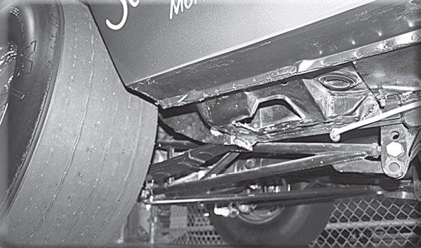 Like B- and E-Body Street Hemi cars, the 1968 Hurst Hemi A-Bodies were equipped with torque boxes like this. Which Hemi cars were not built with torque boxes? The traction arm shown is not a factory stock item.