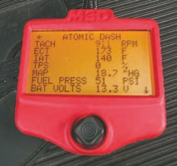 Fig. 5.62. This is just some of the data available via the Atomic Dash menu of the handheld controller when the engine is running.