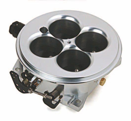 Fig. 6.1. This Holley 2,000-cfm throttle body (PN 112-578) has a Dominator flange. It is the latest version of the throttle body. This CNC-billet throttle body flows all the air the 620 hp Olds 455 can ingest. (Photo Courtesy Holley Performance Products)