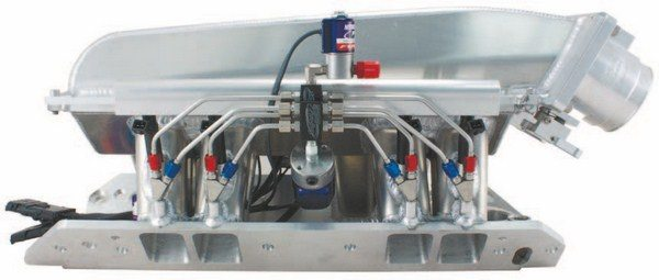 Fig. 7.26. This is one sweet induction setup. You're looking at a custom Hogan's sheet-metal manifold with dual Wilson Manifolds throttle bodies and a Nitrous Proflow fogger setup. (Photo Courtesy David Segundo/ Wilson Manifolds)