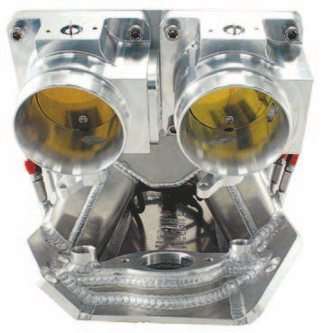 Fig. 7.28. The dual throttle bodies provide all the airflow the 540 requires and gives this manifold a menacing look. (Photo Courtesy David Segundo/Wilson Manifolds)