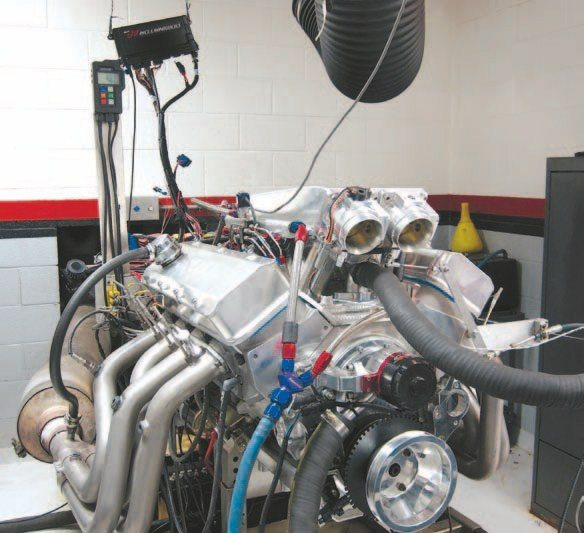 Fig. 7.30. Frank suspended the ECU behind and over the engine to keep it out of harm's way during the dyno sessions. Holley includes a lengthy USB cable with the ECU, but it's not long enough to connect to a laptop on the dyno console.