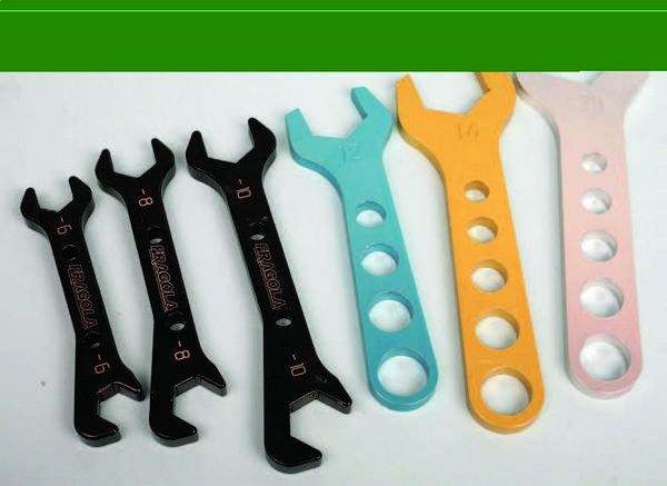 Specialty aluminum wrenches for the range of –AN sizes are readily available from several sources. If you have –AN aluminum plumbing on your vehicle, you need a set of these tools.