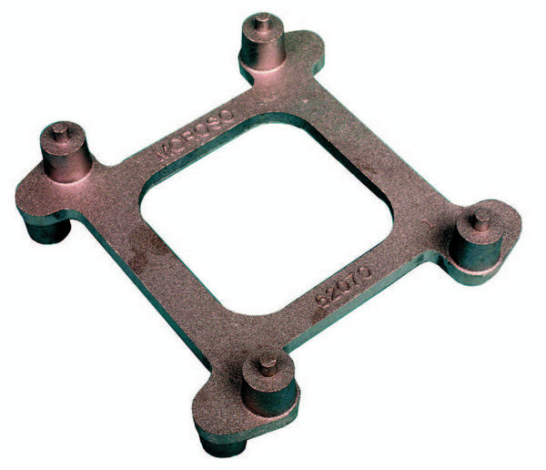 Moroso's cast-aluminum carb stand (PN 62070) has peg supports on each side, to accommodate either square-bore or spread-bore carburetors.